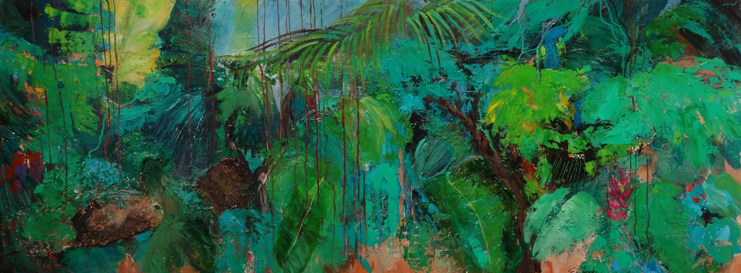schilderij olieverf op canvas 70x180cm