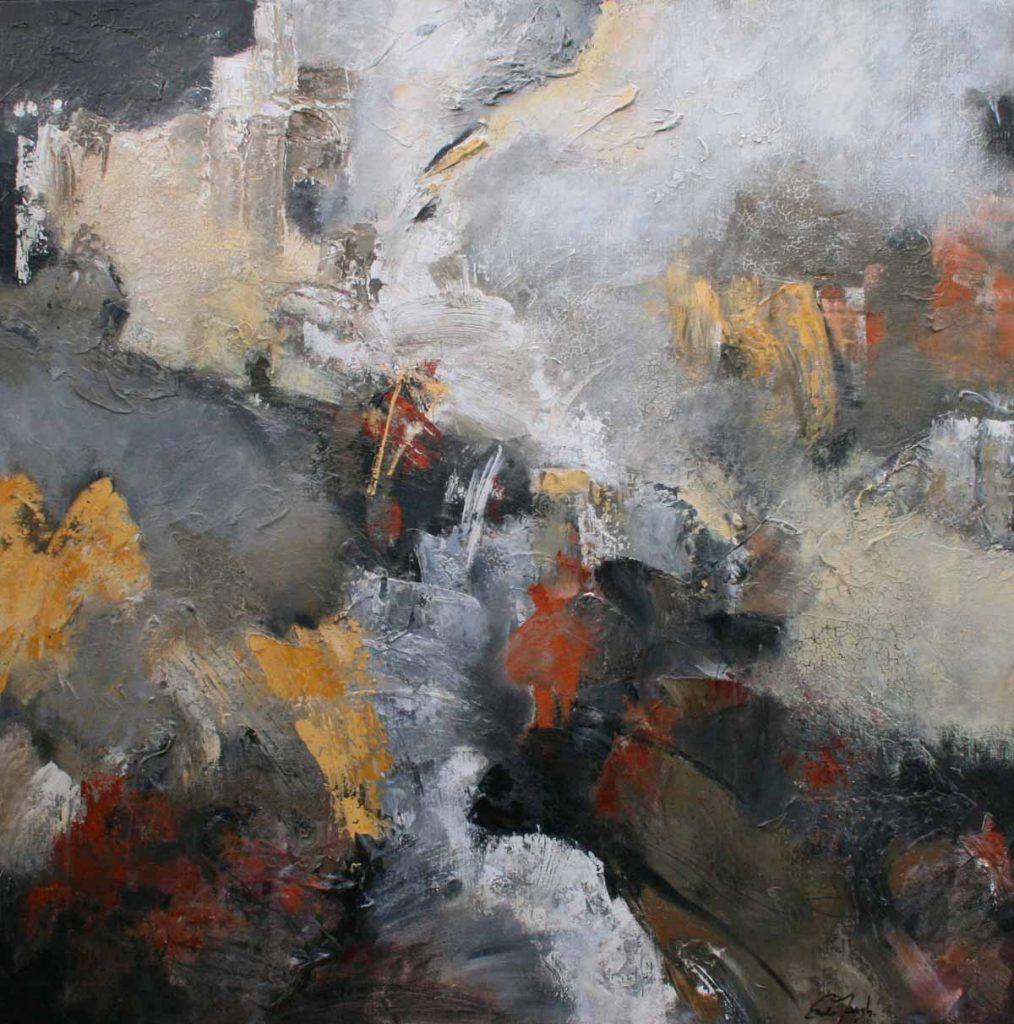 schilderij acrylverf op canvas 140 x 140 cm