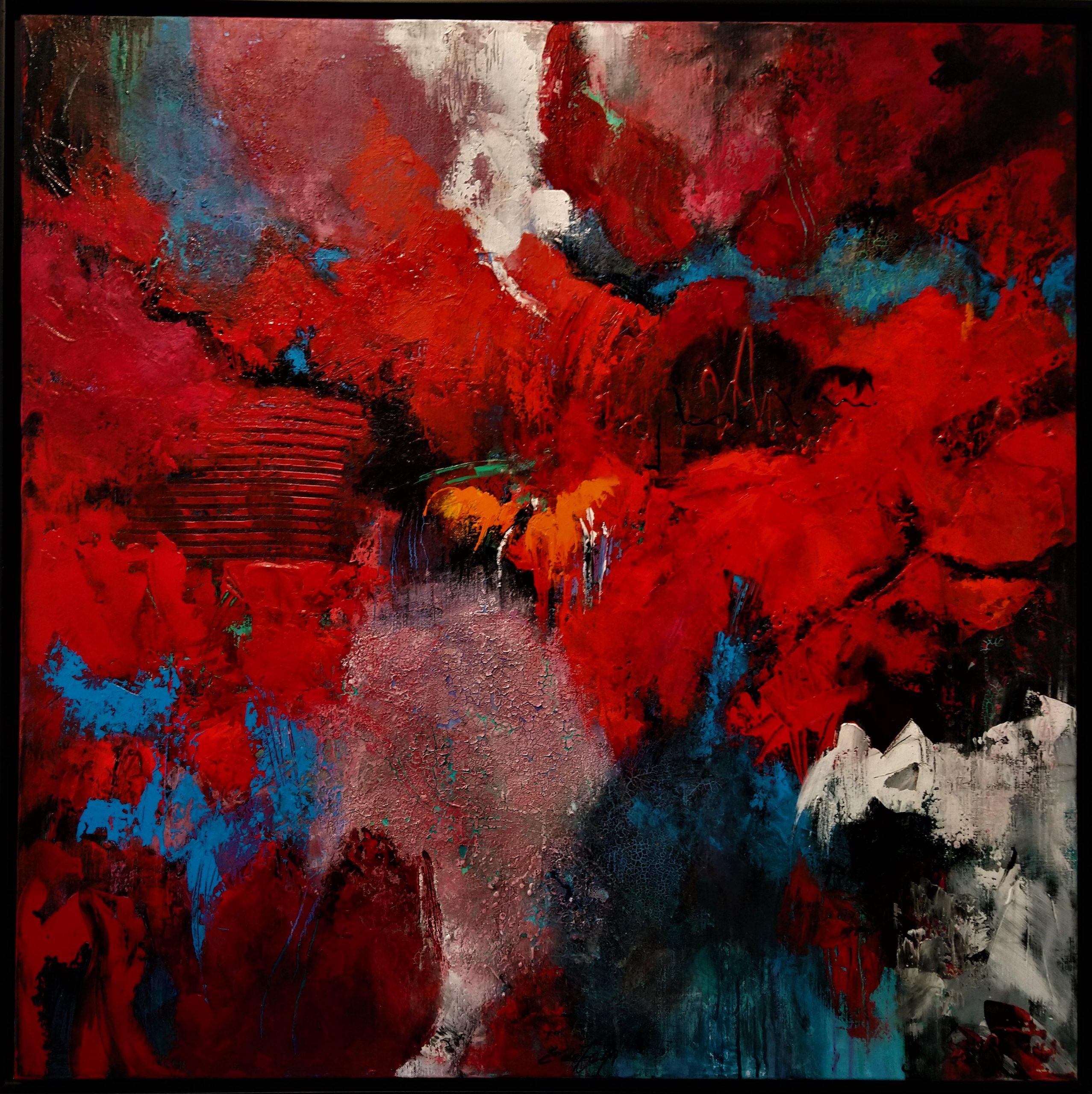 schilderij acrylverf op canvas 100 x 100 cm