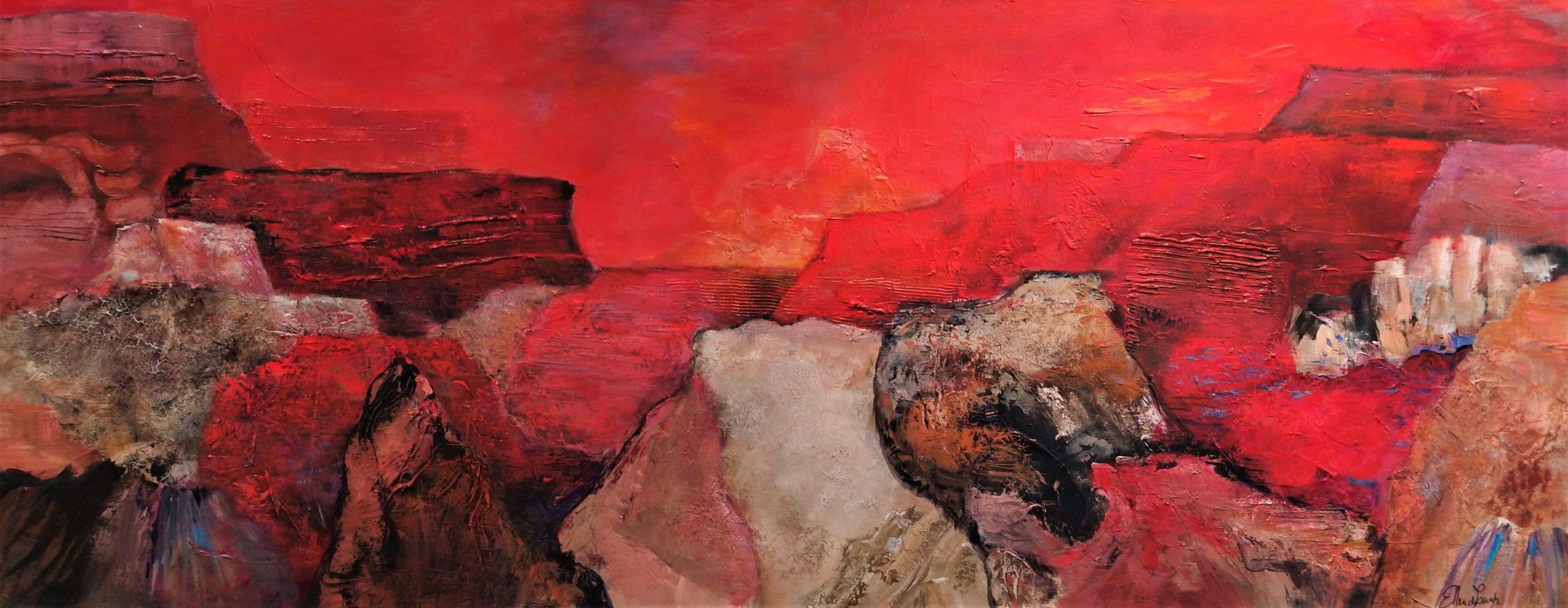 schilderij acrylverf op canvas 70 x 180 cm