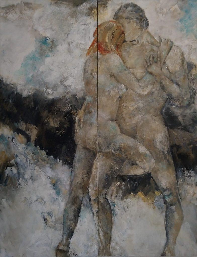 tweeluik schilderij acrylverf op canvas 140x180cm