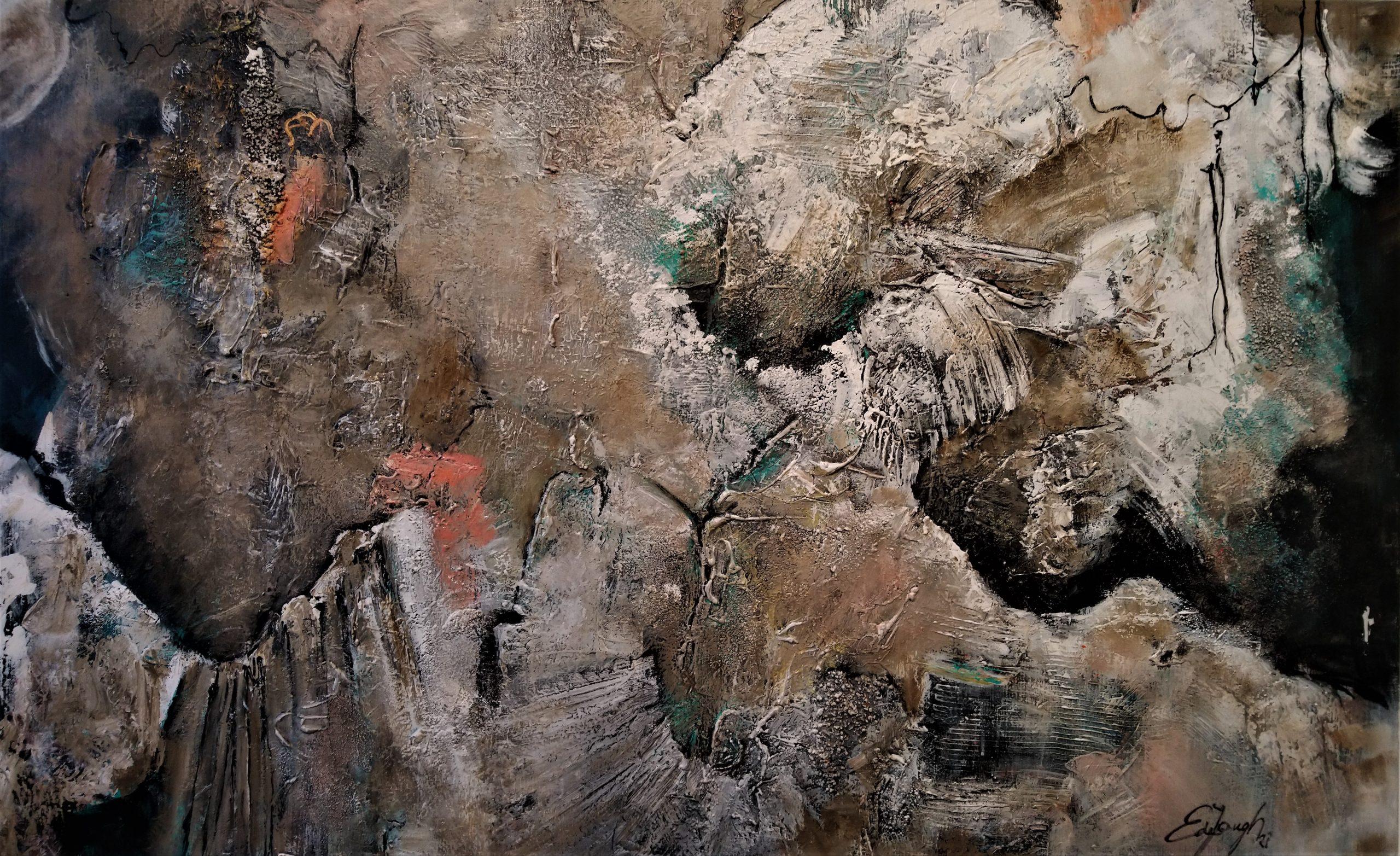 schilderij acrylverf op canvas 100 x 160 cm